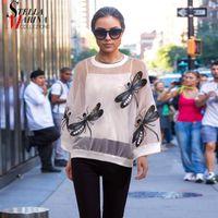 New 2020 Women Black White Mesh Top With Dragonflies T-shirt Tshirt Sheer Kawaii Tee Shirt Oversized T shirt chemise femme 3394 1013