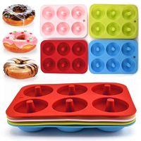 In magazzino Silicone Donut Stampo Cucciolo Pan Giamine Donuts 6 Graid Stampo Maker Non-Stick Silicone torta in silicone stampo pasticceria strumenti di cottura veloce