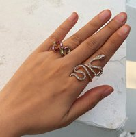 Первоначальная змея кольцо леди золотая алмазная мода радуга кольцо смеси золото алмазное золото наполнить кварцевое кольцо