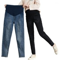 Fondos de maternidad 5xl Jeans Slim Fit Fit Stretch Levantamiento de vientre Pantalones otoño e invierno ropa de moda ropa embarazada1