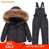 Nouveaux Enfants 2020 Vêtements Set Down Jacket hiver bébé jarretelle Pantalon de ski Costume Enfant Fille Garçon Vêtements enfants tout-petits Jumpsuit