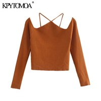 KPYTOMOA Women 2020 Fashion With Straps Cut-out Knitted Sweater Vintage Off The Shoulder Long Sleeve Female Pullovers Chic Tops A1107