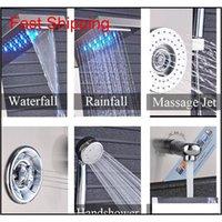 Cachoeira de aço inoxidável de aço inoxidável de níquel escovado LED Painel de chuveiro de chuva W / massagem Sistema Bico w / Handshowe Jlltzp Bdebag