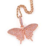 2021 joyería Collar con cadenas de plata colgante de oro rosa de color de la mariposa Miami Cuban Link bolsa ingenio Collar