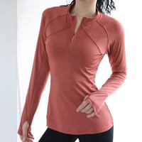 йога топы осень Женской и зима новый двойной линии молнии с длинными рукавами йога рубашку быстросохнущие фитнес одежды работает спортивная куртка