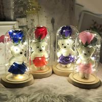 Valentino Giorno Regalo Glass Shield Scudo Bomboniera Led Lamp Glow Ornament Bear ARTIFICIALE ROSA ROSA TOTOLO POLTUTO Multi colore 27 5bm G2