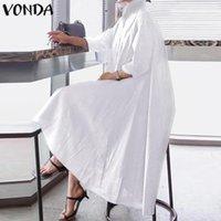 Vonda Beyaz Elbise Kadınlar Seksi Yaka Boyun Asimetrik Parti Elbise Office Bayanlar Sundress Casual Gevşek Tatil Vestido Artı boyutu