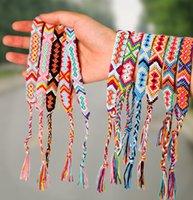 Armband für Mädchen Frauen Handgemachte Seile Hit Farbe Exotische Wind Muster Rainbow Armband Glück Freundschaft Armband mit Karte PS1507