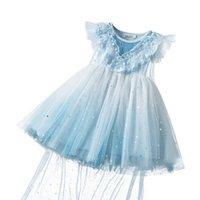 Mädchen-Kleid mit Umhang Kind-Kleidung WeihnachtenHallowmas Prinzessin Paillette-Partei-Kleider Baby-Bekleidung Blau Kinder Vestido