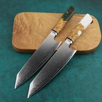 Damaskus Küchenmesser Japan VG10 Stahl Professionelle Kiritsuke Chef-Messer Octagonal blaue Harz-Handgriff New Cleaver Geschenk Hot