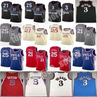 2021 New Joel 21 Embiid Herren Ben 25 Simmons Allen 3 Iverson Julius 6 Erntes Stadt Basketball Jersey