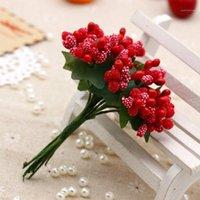 12pcs 미니 인공 핀 딸기 줄기 무리 거품 과일 꽃 스탬 렌스 DIY 공예 화환 화환 garland 결혼식 상자 장식 gift1