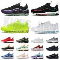 Novo 97 Correndo Sapatos para Mulheres Mulheres 97S Reflexivo BRED Corte Roxo MSCHF INRI JESUS AIR Treinadores Sneakers com meias e tags