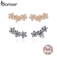 Bamoer Daisy Flower Clear CZ Stud Pendientes para las mujeres color de rosa 925 joyería de plata esterlina regalo de San Valentín para niña gxe4191