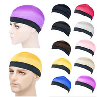 Unisexe natation casquette femmes hommes chapeau de dôme soyeux chapeau de protection de poils solide dôme solide bouchon d'onde élastique large bande stretchy wig chimio chapeau e122810