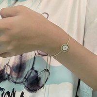 Esmalte bonito daisy moda ajustável pulseira de bracelete simples jóias de flor retrô para mulheres redonda geometria pingente