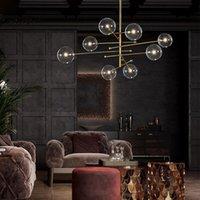 2021 Современный дизайн шариковая люстра 6 головок прозрачный стеклянный пузырьковый фонарь для гостиной кухня черный / золотой светильник