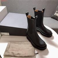 خريف 2020 مدرج جولة اصبع القدم النساء منتصف العجل أحذية مع موجة سقوف وحيد أنثى مارتن عدم الانزلاق العاصفة كوير مطاطي لوحات جانبية الأحذية