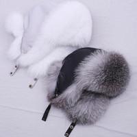 Suppextdio 100% реальная меховая шляпа для женщин натуральный серебряный меховой мех лисы русский Ушанка шляпы зима толстые теплые уши мода бомбардировщик Cap 201106