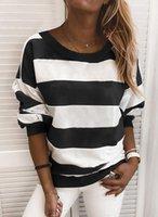 여성 가로 줄무늬 풀 오버 탑 패션 캐주얼 긴 소매 라운드 목 스웨터 가을 겨울 여성을위한 겨울 느슨한 의류