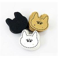 Großhandel 200 teile / los Modeschmuck Display Verpackungskarte, nette Katze Form Papierkarte Passform für Ohrring Verpackung Versand CVsyi