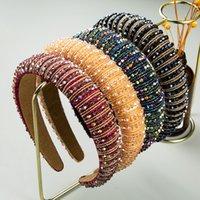 Kadınlar için Tam Kristal Saç Bantları Lady Lüks Parlak Yastıklı Elmas Kafa Saç Hoop Moda Saç Aksesuarları 26 Renkler 409 K2