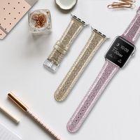 Frauen Mädchen Glitzer-PU-Leder-Sport iWatch-Band-Bügel für Apple-Uhr series6 SE 5 4 3 2 1 38mm / 40mm 42mm / 44mm