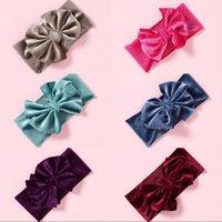Veludo Bebê Acessórios Acessórios Flannelette Nylon Kids Headbands Pure Color Elastic Bow Hairband Multicolor Alta Qualidade 3 47SW J2B