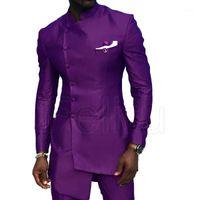 Costumes Hommes Blazers Elegant African Satin Wedding Lon costume Slim Groomsmen Business Wear Tuxedo Beespoke Blazer Kaftan 2PCS1