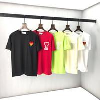 2020 AMI Giyim Homme T Gömlek Erkek Erkek Kadın Tasarımcı Hoodies Yüksek Sokak Baskı T Gömlek Boyutu S-M-L-SL-XXL