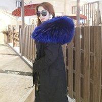 Donne Down Parkas Maomaokong 2021 Top Quality Faux Fur Fine Fodera Giacca invernale Cappotto Big Raccoon Collare con cappuccio Long Parka Outwear1