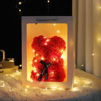 Розовый плюшевый мишка новый день Святого Валентина подарок 25см цветок медведь искусственное украшение рождественский подарок для женщин Valentines подарок YHM804 HB