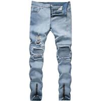 Männer Jeans Männer Stretchy Ripping Skinny Biker Stickerei Drucken Zerstörte Loch Taped Slim Fit Kratzt hohe Qualität Jeanshose