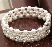 Armband Multi-Layer Stretch Pearls Armband Bridal Rhinestone Armband Billiga Bröllopsfest 1178