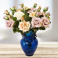 2 Head Artificial Rose Edge Curl Simulación Rosa Flor Boda Decoración del hogar Flower Flower Día de San Valentín T9I001010