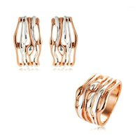 Серьги Ожерелье Viennois Геометрические Ювелирные Изделия Для Женщин Розовое Золото Цвет Полы Дизайн Кольцо Ухо Cill Clip Party 20211