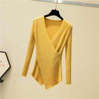 Женщины Нерегулярные Сексуальные V-образные вырезы с длинным рукавом Пуловер вязаный свитер Зимние свитеры Шикарные трикотажные одежды Корейский женская одежда падает