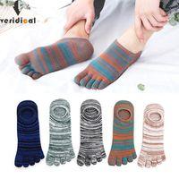 Мужские носки Veridical 5 Пары / Лот Хлопок с пальцами красочные Весна Лето Нет Показать Лодыжку Cool Для Мужчины Винтаж Пять Палец1