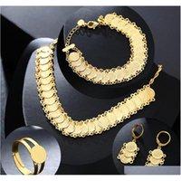 Nuevo conjunto de joyas de monedas árabes clásicas Collar de color oro Pulseras Pendientes Anillo Medio Oriente Muselim Monedas Accesorios HSA0