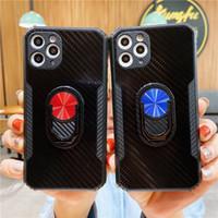 Kohlefaser Acryl + TPU Anti-Fall-Telefonkasten für iPhone 12 11 PRO MAX XS XR xs max 7 8 Plus mit Fingerringhalter