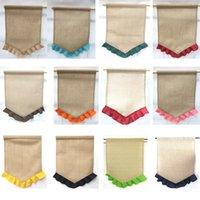 14 couleurs bricolage blank buckac gamme drapeau coloré volants portables jute bannière bannière Pâques maison cour de Noël mariage ppd3858