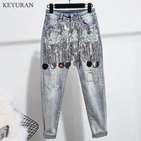 Trecho Skinny Jeans Mulher Elastic Denim rasgado Calças finas Casual Skinny Beading Vintage Feminino Jeans com luxo lantejoulas
