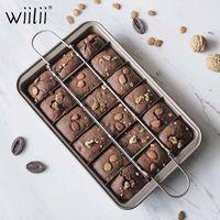 Wiilii Square Bandeja Alto Carbono Aço Brownies Cozer Pan Non Stick Brownie Bolo Molde de Bolo Com Divisores Bakeware para Forno Mold Y200618