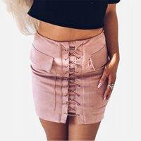 Swebling en daim mini jupe sexy Modycon femmes jupe d'automne hiver Poches à lacets à lacets à glissière haute taille Split Jupes courtes 201027