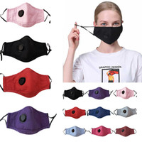 Reusable Unisex Cotton Face Masks With Breath Valve PM2.5 Mouth Mask Anti-Dust Fabric Fliter Mask Washable HH9-3028
