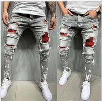 21 Jeans da uomo europeo e americano PATCH PATCH STAPPING Hole Distressed Pants Style Style Style