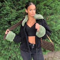 Yeşil Tüyler Kot Ceketler Nervürlü Boy Y2K Siyah Denim Ceket Retro Parti Giyim Clubwear Kadınlar Sonbahar Kış