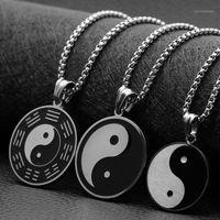 Collane pendente Moda in acciaio inox gossip yin e yang figure collana titanio maschio anno natale gioielli 1