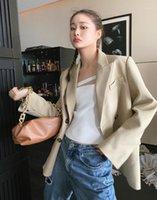 2021 Herbst Neue Frauenjacke Britisch Stil Elegante Anzug Design Nicht-Mainstream Pure Farbe Einfache Mode Top1