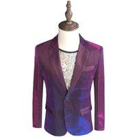 Herrenanzüge Blazer Purple Männlichen Lässige Blazer Jacke Abend Party Prom Männer Mode Slim Fit Anzug Mäntel Mann Moderator Stage Persona